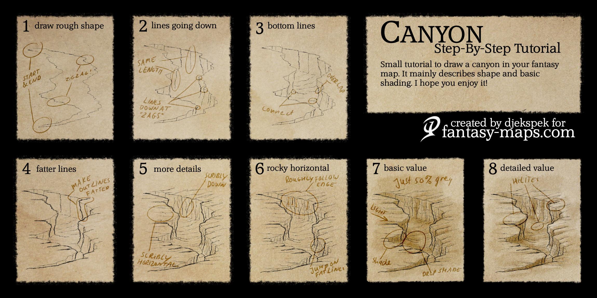 Tutorials fantasy maps fantasy map tutorial canyon gumiabroncs Images