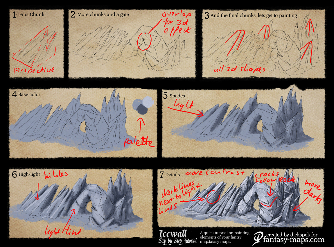Tutorials fantasy maps fantasy map tutorial ice wall gumiabroncs Images